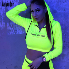 Auyiufar Women Two Piece Sets Top And Pants Neon Long Sleeve Hooded Crop Tops Fashion Letter Print Pocket 2019 Womens Tracksuit