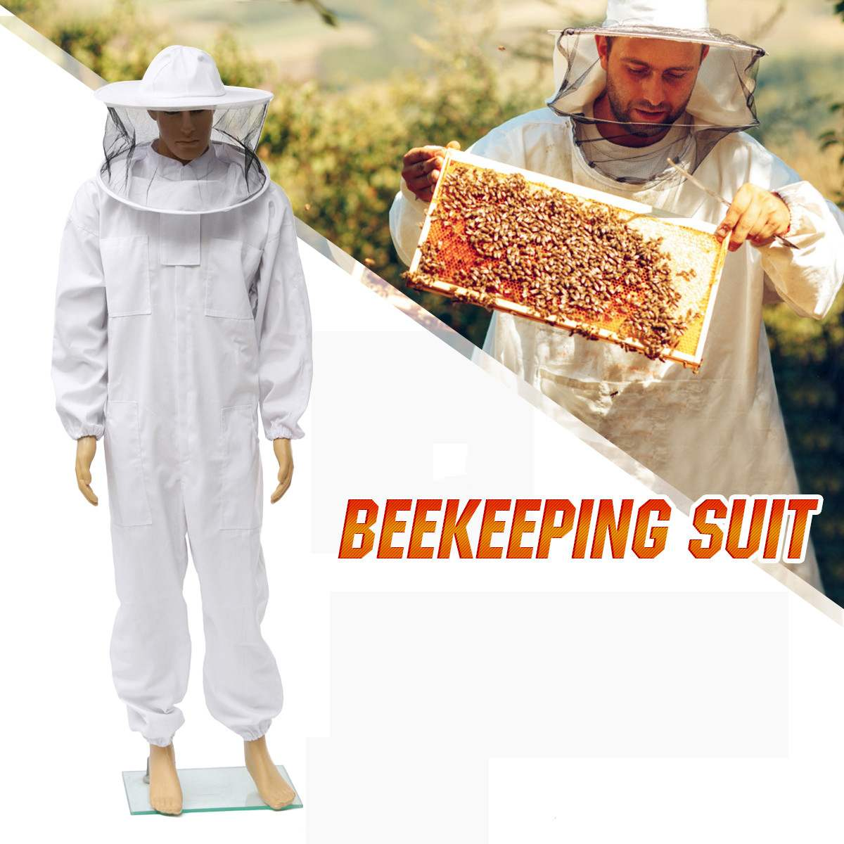 Pro Beekeeping Protective Equipment Veil Bee Keeping FULL BODY Suit Hat Smock