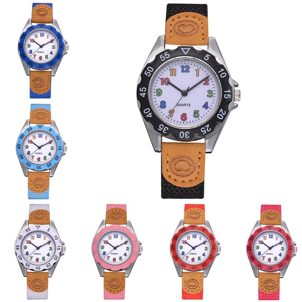 Relojes Fashion Children Kids Arabic Numbers Nylon Band Wristwatch Analog Quartz Watch For Gifts Kids Watches Round Dial Reloj