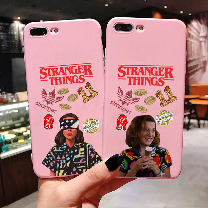 American TV Silicone Phone Case for iPhone X 6 6S Plus 7 8 Plus XS MAX XR Stranger Things Season 3 Candy Pink Cover For iPhone 11 Pro Max