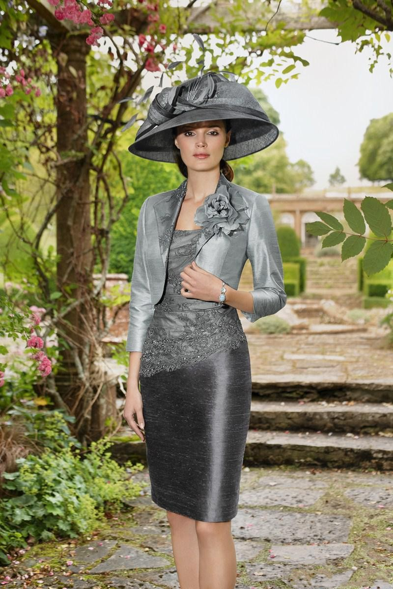 Fashionable Mother Of The Bride Dresses Sheath Satin Appliques Knee-Length With Jacket Three Quarter Sleeves Formal Gown 2015