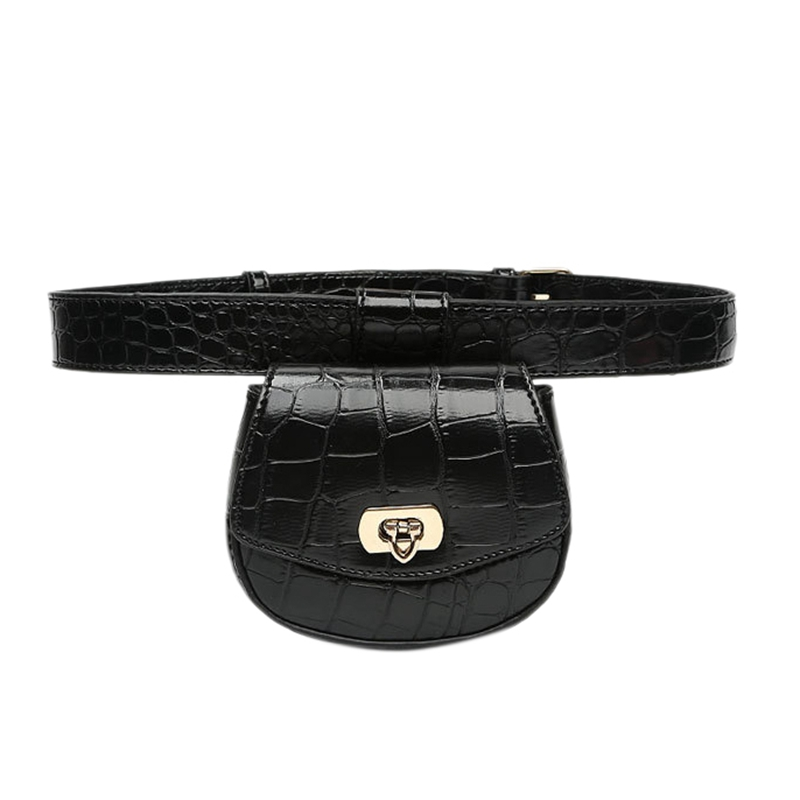 Women Waist Bag Leather Belt Detachable Pouch Decoration Simple Thin Belt Crocodile Pattern Waist Bags