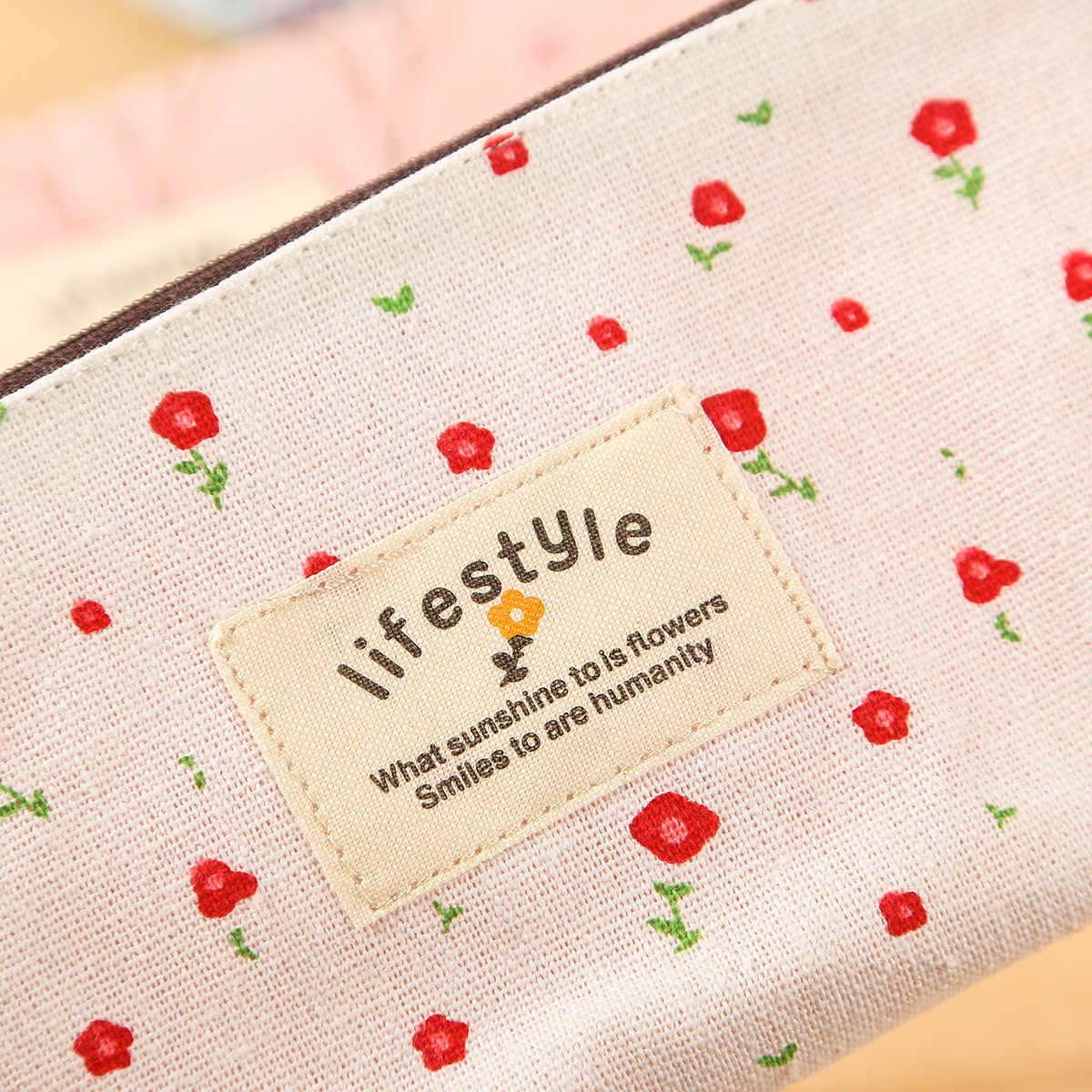 Mignon Kawaii fleur florale toile fermeture éclair étuis à crayons belle tissu arbre stylo sacs fournitures scolaires 1 pièces livraison gratuite