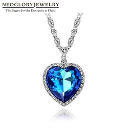 Neoglory Heart of Ocean Blue Heart Necklace Attack Titanic Necklace for Valentine Embellished with Crystals from Swarovski