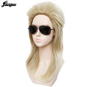 Image 4 - Ebingoo 70s 80s Halloween Costume Retro Rocking Punk Metal Disco Mullet Synthetic Cosplay Wig Women Long Straight Blonde Wig