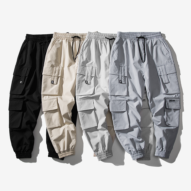 2020 new beam foot tooling pants male tide brand loose harem pants Korean version of the trend student wild 9 points pants