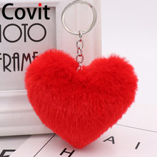 2019 cute key chain faux rabbit fur heart pompom keychains women girl bag cars simple fluffy key chain jewelry gifts(China)