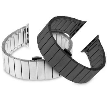 new stainless steel 7 points watch band for apple watch 38mm 42mm iwatch strap black silver rose gold butterfly clasp bracelet Stainless Steel strap for Apple Watch band 44mm 40mm iWatch band 42mm/38mm Butterfly Metal Bracelet Apple watch serie 5 4 3 se 6