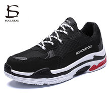 New Men's Running Sports Shoes Outdoor Casual Shoes PU+Mesh Breathable Thick Bottom Sneakers Students White Black Platform Shoes solid color pu thread men's casual shoes