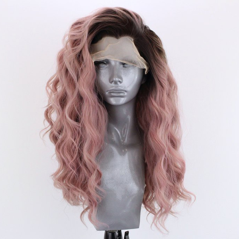 RONGDUOYI Side Part Two Tone Heat Resistant Fiber Glueless Lace Wigs For Women Long Wavy Ombre Pink Synthetic Lace Front Wig