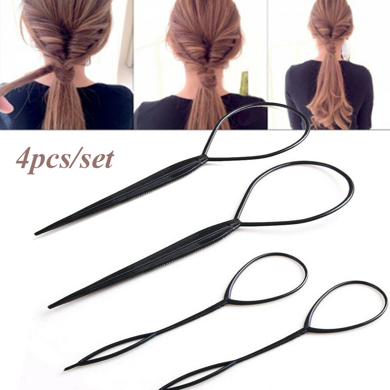 4pcs Black Topsy Tail Hair Braid Ponytail Maker Hair Styling Tools Ponytail Creator Plastic Loop Hair Accessories