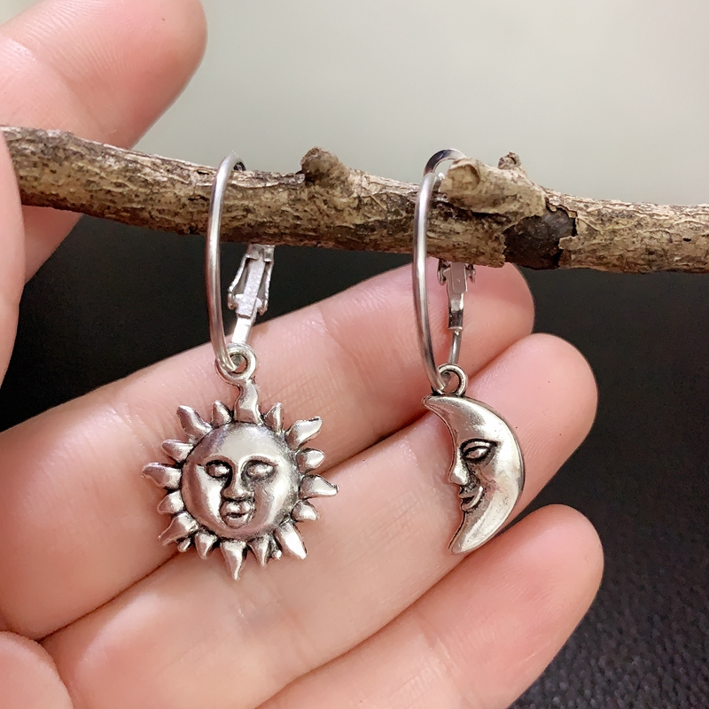 Искусственное солнце, асимметричные серьги, кольца, небесные серьги, серебряные серьги-кольца, серьги-кольца, звезды, подарок