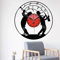 LED Light Jazz Band Clock 3D Retro Wall Clock Jazz Music Art Vinyl Record Wall Clock Gift For Music lover Musicants Watch
