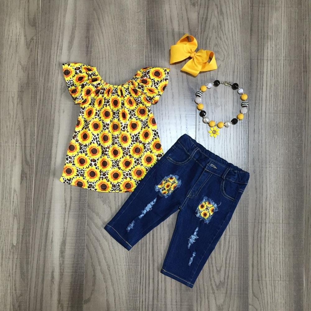 Baby Girls Spring Jean Outfits Girls Sunflower Shirt With Jean Shorts Girls Summer Outfit With Accessories