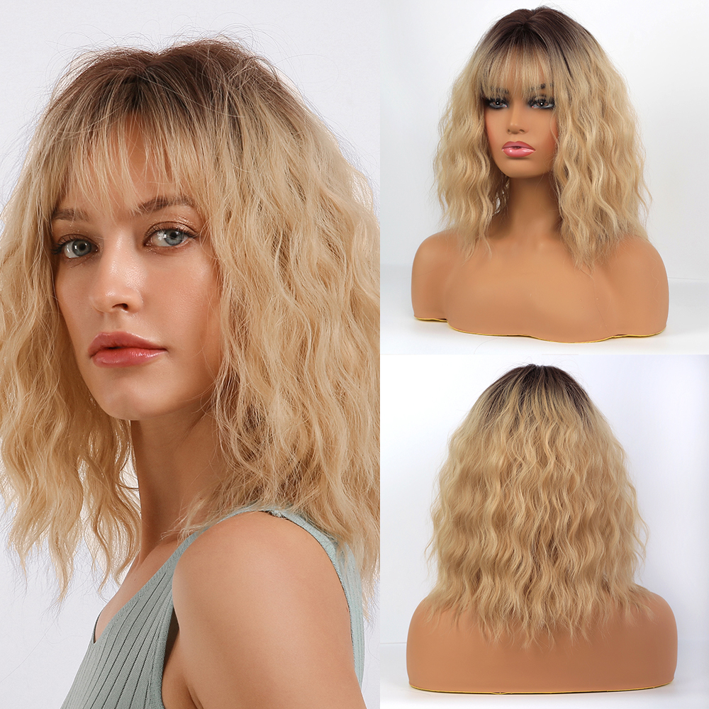 Element Synthetic Medium Length Ombre Golden Blonde Water Wave Wigs With Air Bangs Lolita Cosplay Wigs For White/Black Women
