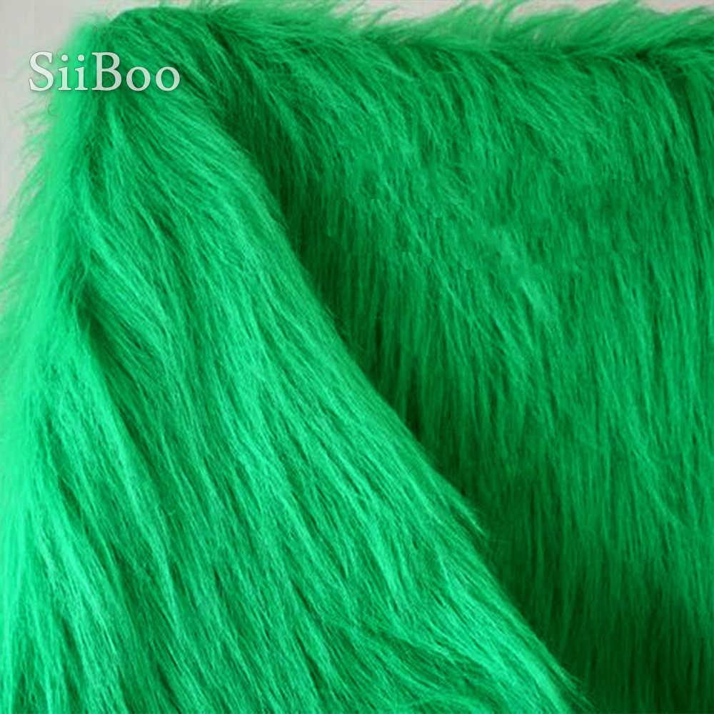 สีเขียว 9 ซม.Plush faux FUR ผ้าสำหรับเสื้อฤดูหนาวเสื้อกั๊ก STAGE Decor ยาวขนสัตว์ผ้าเนื้อเยื่อสำหรับ STAGE Decor DIY 150*50cm 1 PC SP3915