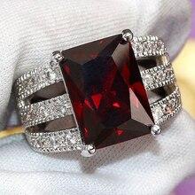 Anillos cuadrados de diamantes de imitación rojos Vintage para mujer, anillo de dedo de compromiso para boda, joyería de moda para hombre, regalo del Día de San Valentín, gran promoción