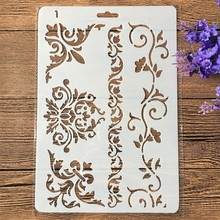 27Cm Rand Frame Bloemen Diy Craft Gelaagdheid Stencils Muur Schilderen Scrapbooking Stempelen Embossing Album Papieren Kaart Template