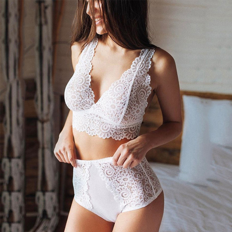 White Bra Set Push Up Seamless Embroidery Lace Sexy Lingerie Plus Size Female Transparent Underwear Set Women's Panties Corset