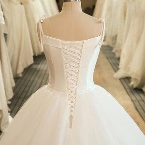 Image 5 - SL 5058 Cheap Sample Bow Wedding Bridal Dress Corset Ball Gown Satin Wedding Dress