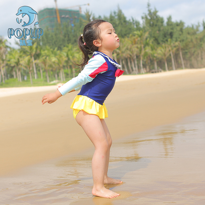 2018 New Style KID'S Swimwear Doll Print GIRL'S One-piece Swimming Suit Dress Baby Bathing Suit