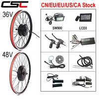 Kit de conversión de bicicleta eléctrica, 36V, 250W, 350W, 500W, 48V, 1000W, 1500W, 20-29 pulgadas, 700C, Motor de cubo sin escobillas, rueda trasera de bicicleta