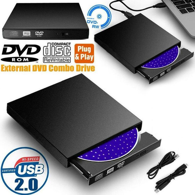 1pc portátil usb 2.0 externo DVD-ROM player CD-RW queimador de alta velocidade dvd drive plug and play adequado para desktop portátil