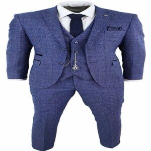 Image 5 - 2020ブルーメンズスーツ3ピースツイードチェック男性スーツ懐中時計テーラードフィットpeaky blinders terno masculino