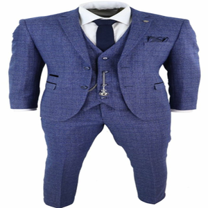 Image 5 - 2020 Blue Mens Suits 3 Piece Tweed Check Men Suit Pocket Watch Tailored Fit Peaky Blinders Terno Masculino
