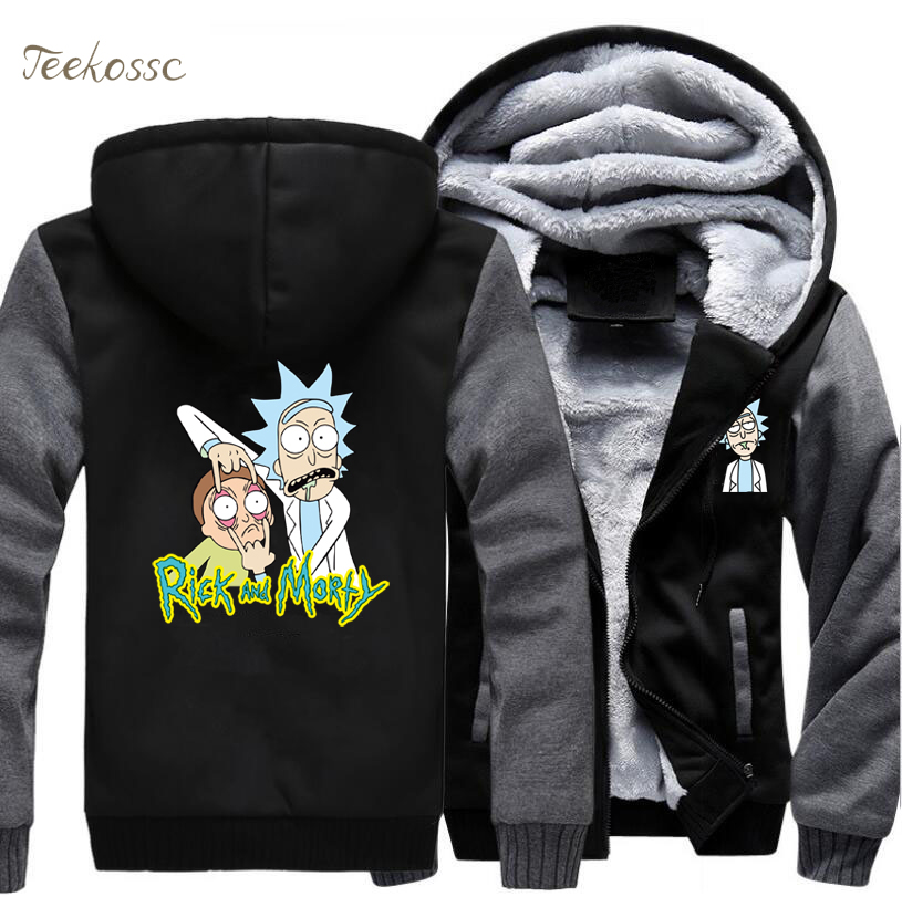 Anime Japan Rick And Morty Hoodies Sweatshirts Men 2018 Winter Warm Fleece Thick Zipper Mens Harajuku Hoodie Hooded Cartoon Coat
