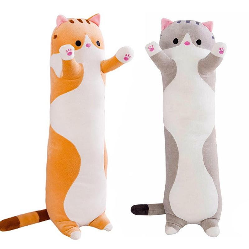 2 Colors 50cm Cartoon Animals Plush Toy Long Soft Bunny Cat Kitten Legs Pillow Sleeping Companion Bolster Toys Brown Grey