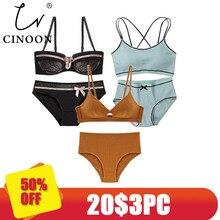 CINOON 3 חתיכות 2018 גבוהה סוף מותג רומנטי פיתוי חזיית סט נשים אופנה פסים תחתונים להגדיר לדחוף את חזייה ותחתונים סט