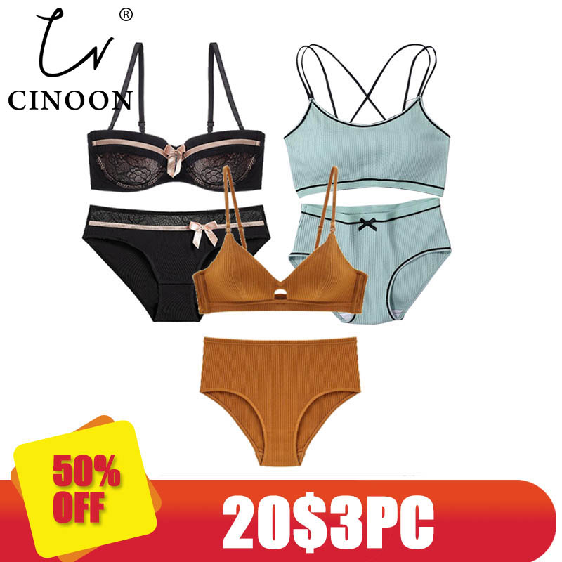 CINOON 3 Pieces 2018 High-end Brand Romantic Temptation Bra Set Women Fashion Stripes Underwear Set Push Up Bra And Panties Set