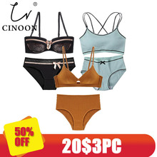 CINOON 3 pieces 2018 High-end Brand Romantic Temptation Bra Set Women Fashion Stripes Underwear Push Up and Panties