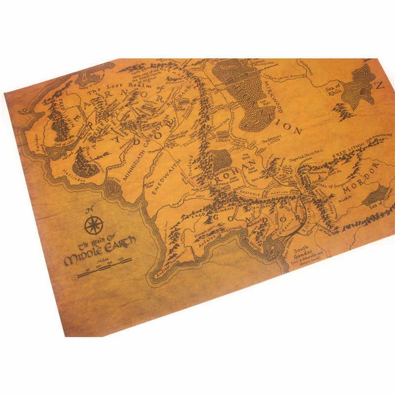 Carta da parati Murale Vintage Terra di Mezzo Mappa Su Il Signore Degli Anelli Poster Complementi Arredo Casa Soggiorno Retro Kraft Carta Da Parete sticker