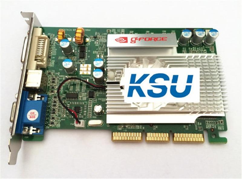 Placa de vídeo, alta qualidade para nvidia geforce fx5200 agp 128m vga/dvi placa de vídeo 4x 8x placa de vídeo Cabos de computador e conectores  - AliExpress