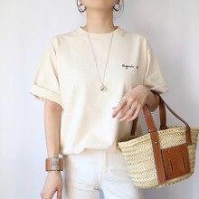 Casual Women T-Shirts Tee Summer Short Sleeve Korean 2020 Janpan Fashion Letter