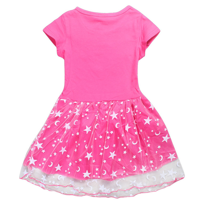 Europe And America CHILDREN'S Dress Pure Cotton Ryan Toys Review Surprise of Painted Egg Gauze Short Sleeve Princess Dress Women image