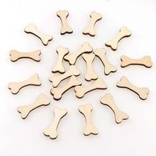 50 sztuk/partia Arts & Crafts Wood Dog Bone wycinanki niedokończone drewniane puste rzemiosło DIY wystrój dla projektów ozdoby dekoracje ślubne