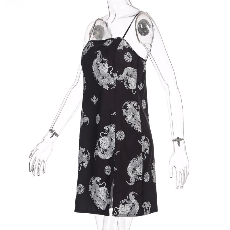 Hugcitar 2020 dragon print sleeveless slit sexy slip mini dress autumn women streetwear club outfits