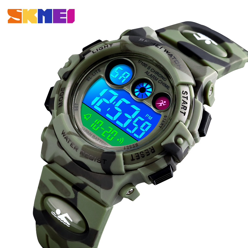 Children Sport Watches LED Electronic Digital Watch Stop Kids Wristwatch Clock 2 Time 50M Waterproof Watch For Boys Girls SKMEI