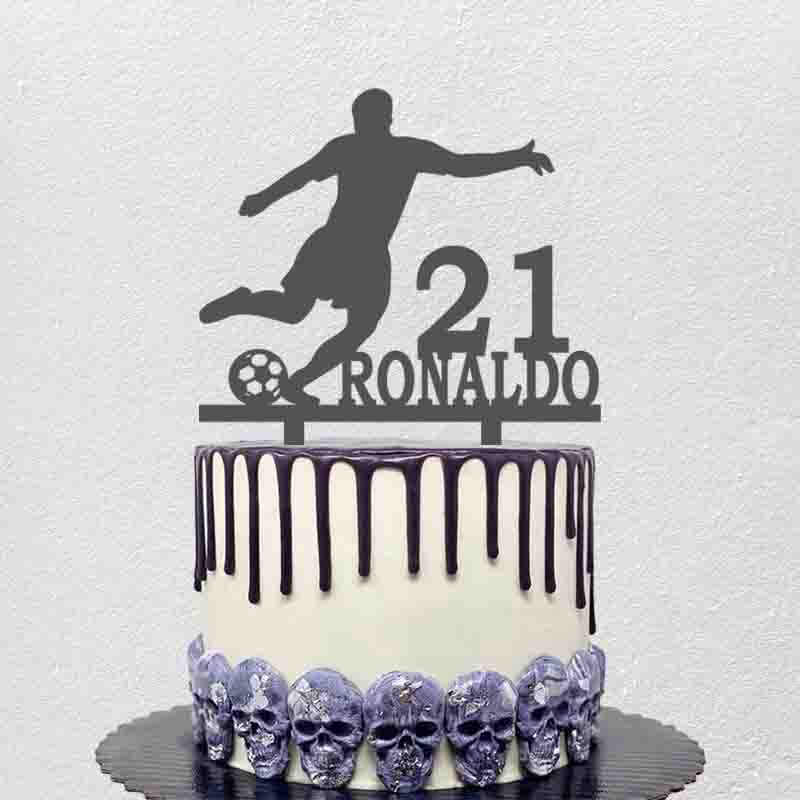 Personalized Football Cake Topper Custom Name Age Man Playing Football Silhouettes Football Fans Birthday Cake Decoration Topper