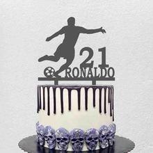 Персонализированный Топпер для футбольного торта с именем на заказ для игроков в футбол, фигуры для футбольных фанатов, украшение для торта...