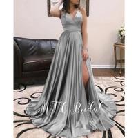 Charming Long Sliver Evening Dress Side Slit V Neck Backless Satin Formal Occasion Women Dresses 2019 Custom Made Party Gowns
