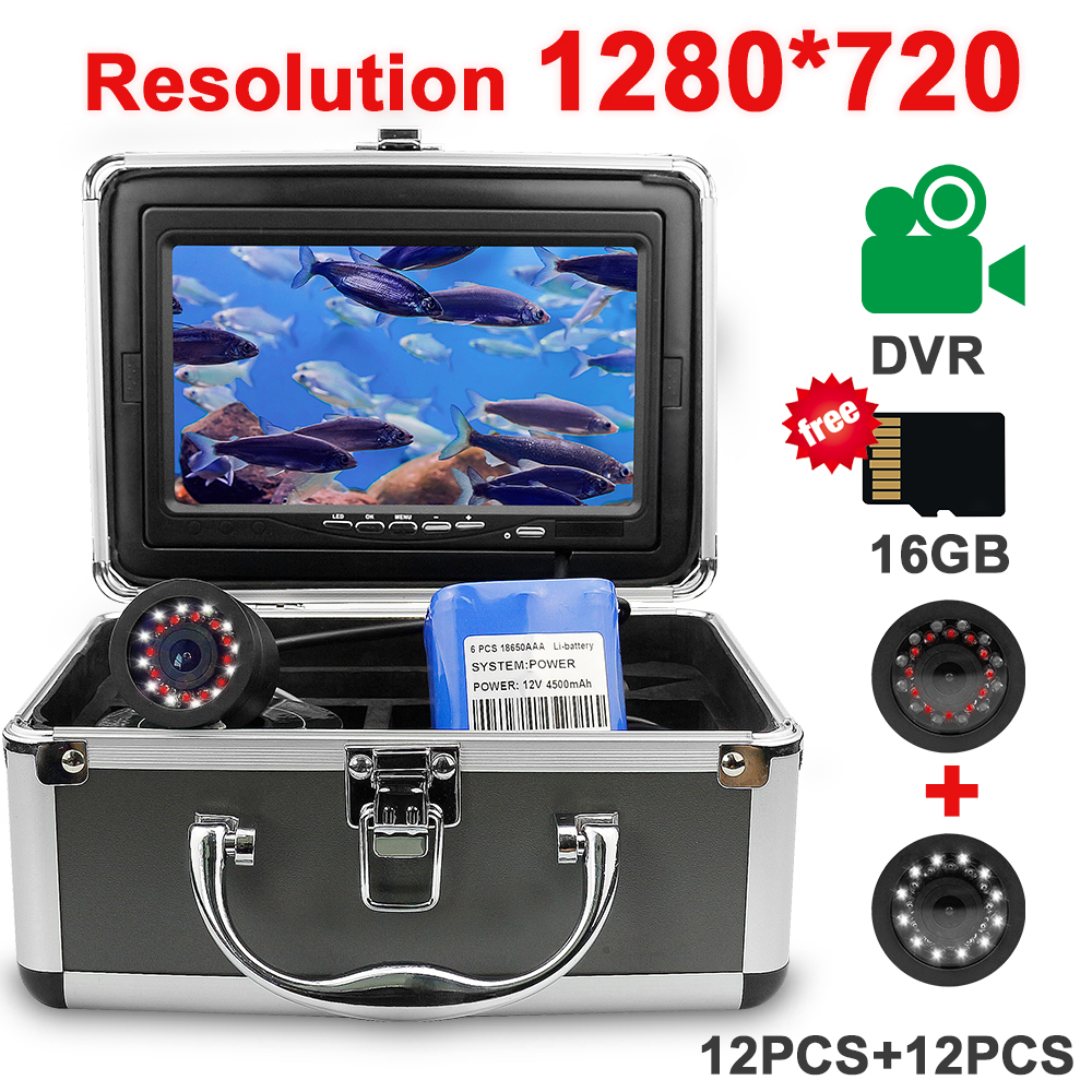 Recording Fish Finder Underwater Fishing Camera DH 1280*720 Screen 2 Diodes IR Infrared Bright White LED Camera For FishingFish Finders   -