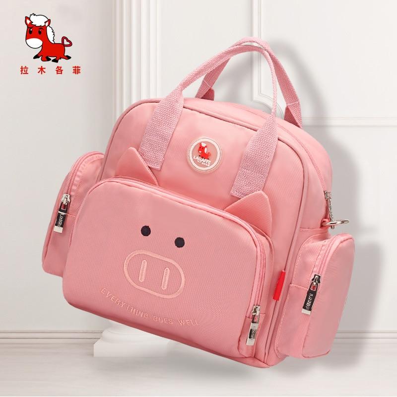 La Mu Each Phenanthrene 2019 Pig New Products Large-Volume Diaper Bag Nylon Waterproof Cloth Bag Spiraea WOMEN'S Bag Fashion Nur