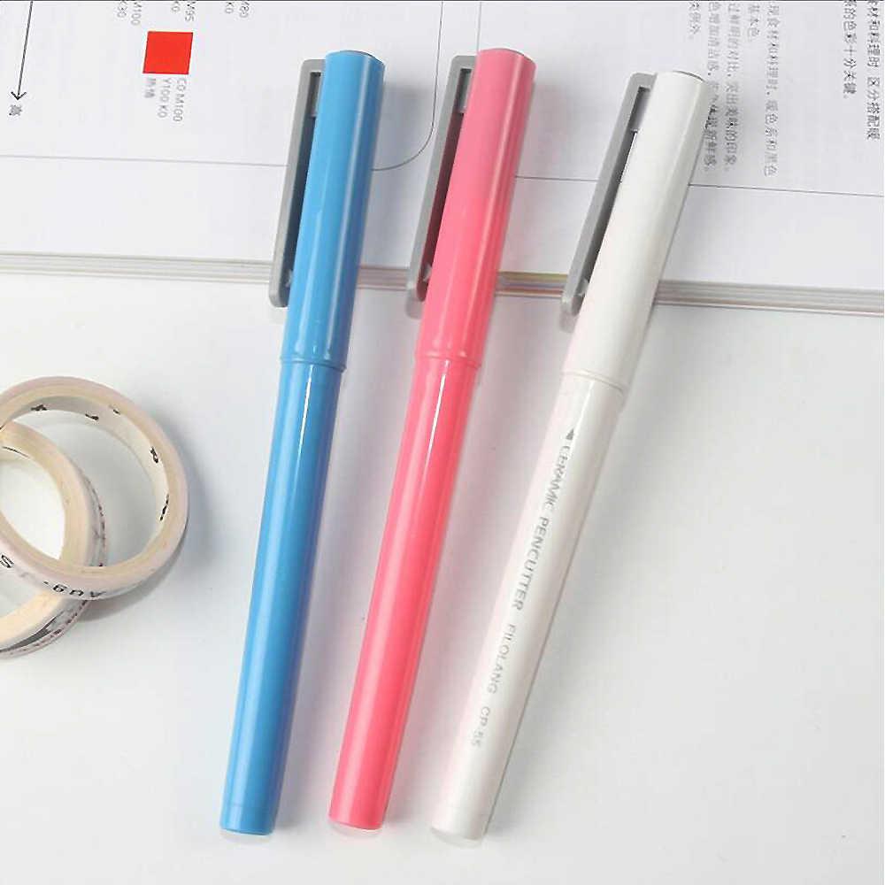 Cortador de papel creativo en forma de bolígrafo, minicortador de cerámica de seguridad, punta de cerámica, No se oxida, herramienta duradera para el hogar, 1 ud.