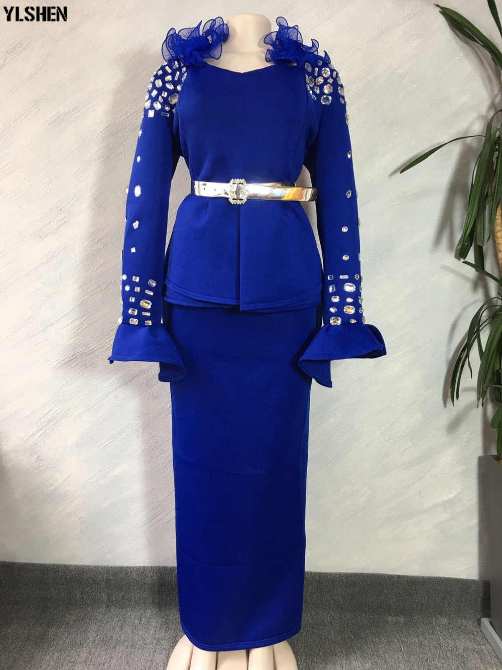 Length 150cm African Dresses for Women Dashiki Nail Bead African Clothes Space Layer African Gown Skirt Long Sleeve Africa Dress 18