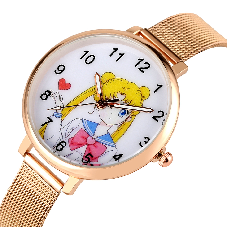 Sailor Moon Women's Bracelet Watch Fashion Rose Gold Mesh Band Quartz Ladies Clocks Female Watches Hours Gifts Relogio Feminino