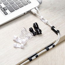 5pcs Finisher Wire Clamp Wire Organizer Cable Clip Buckle Clips Ties Fixer Fastener Holder Data Telephone Line Usb Winder